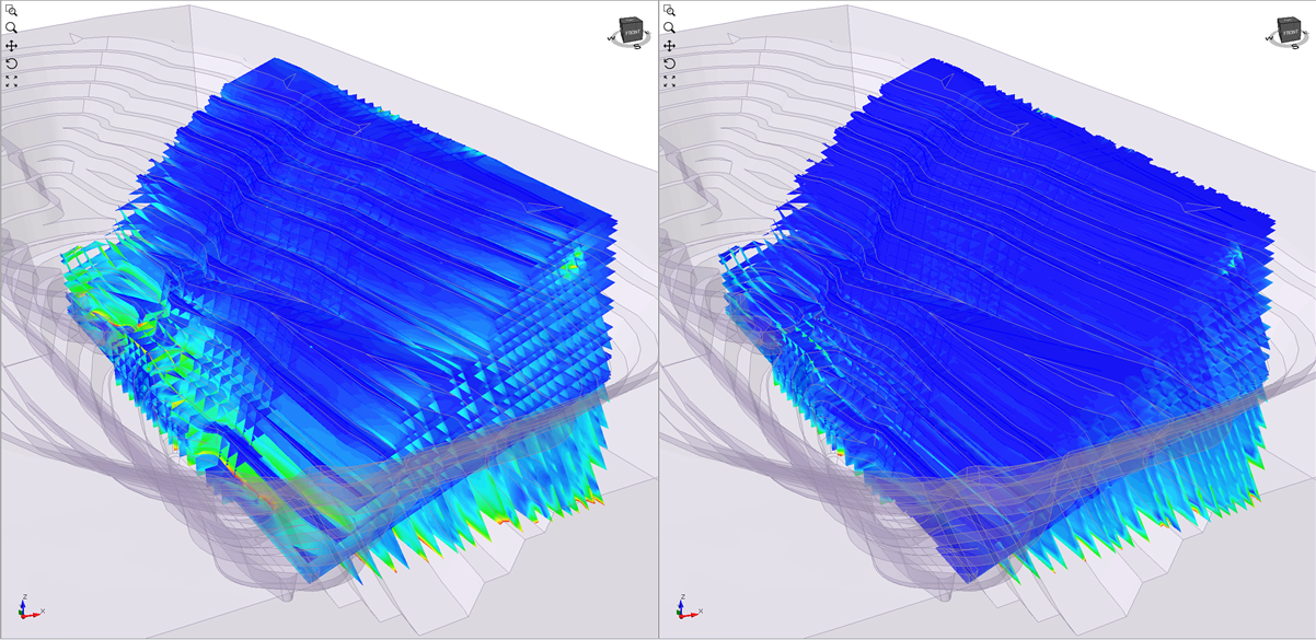 Left: Contours of relative shear displacement along the joints in a discontinuity network in an area of an open pit; Right: Contours of normal displacement along the joints in a discontinuity network in an area of an open pit