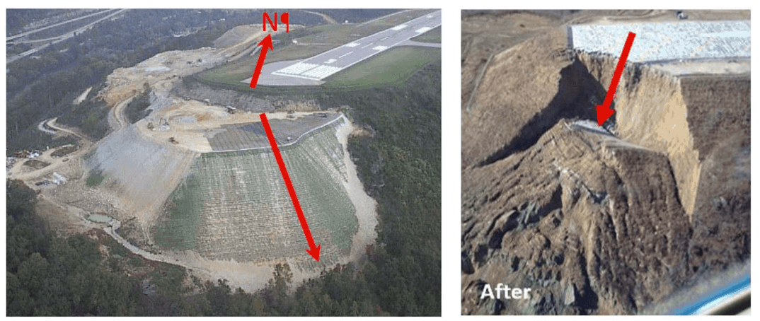 Figure 1: Yeager Airport RSS during construction with black primary geogrid and green geosynthetic wrap (Left). The same RSS after failure (right).
