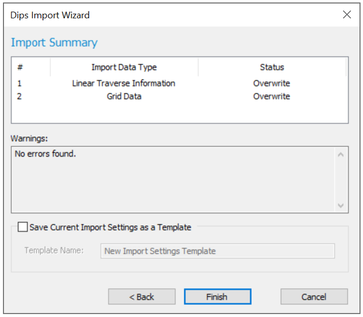 Dips: Dips Import Wizard dialog (Import Summary)