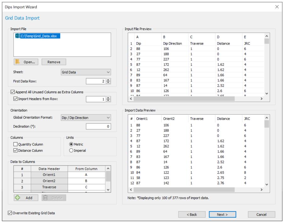 Dips: Dips Import Wizard dialog (Grid Data Import)