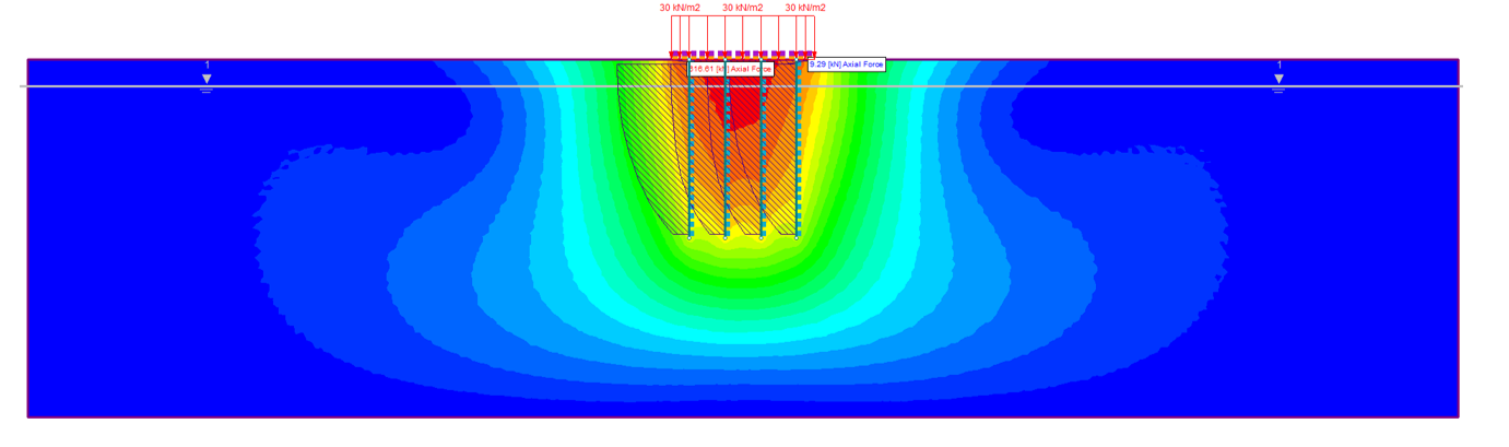 Figure 6: Piled Raft Foundation Example – Total Displacement Contours with Pile Axial Force Overlaid