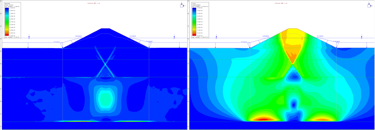 Maximum shear strain and total displacement contours from SSR analysis of a simple slope example in which the foundation has a much lower Young's modulus.