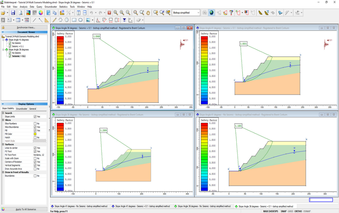 Figure 7. Slope stability analysis in Slide2 v7.0