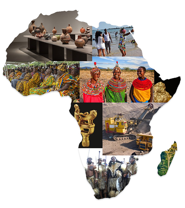 Outline of Africa with Photo Collage of various locations around Africa.