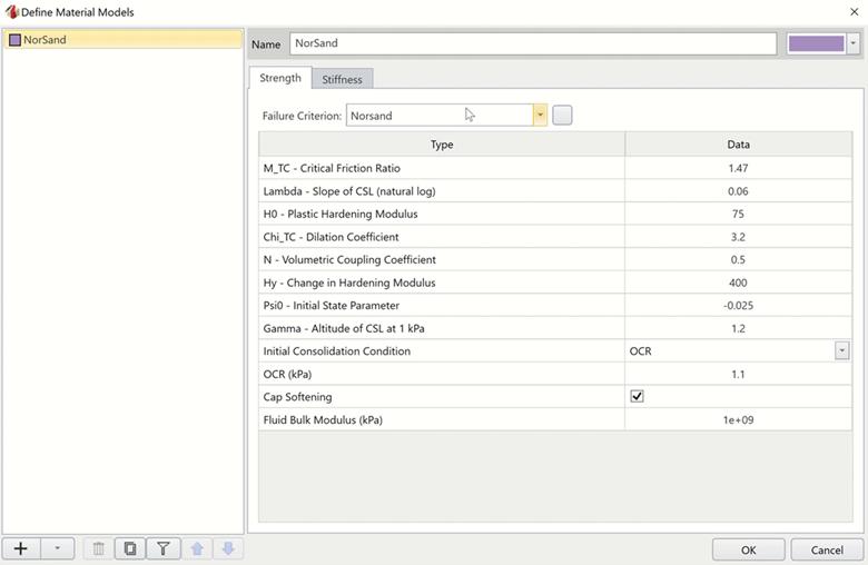 RSData screen shot dialog box for entering material properties