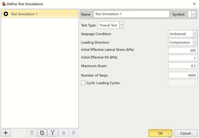 RSData screen shot of dialog box to define test simulations