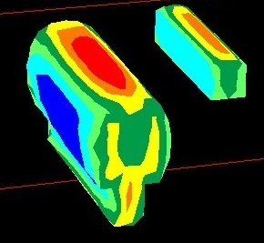 Examine3D Figure 4: View stress and displacement contours.