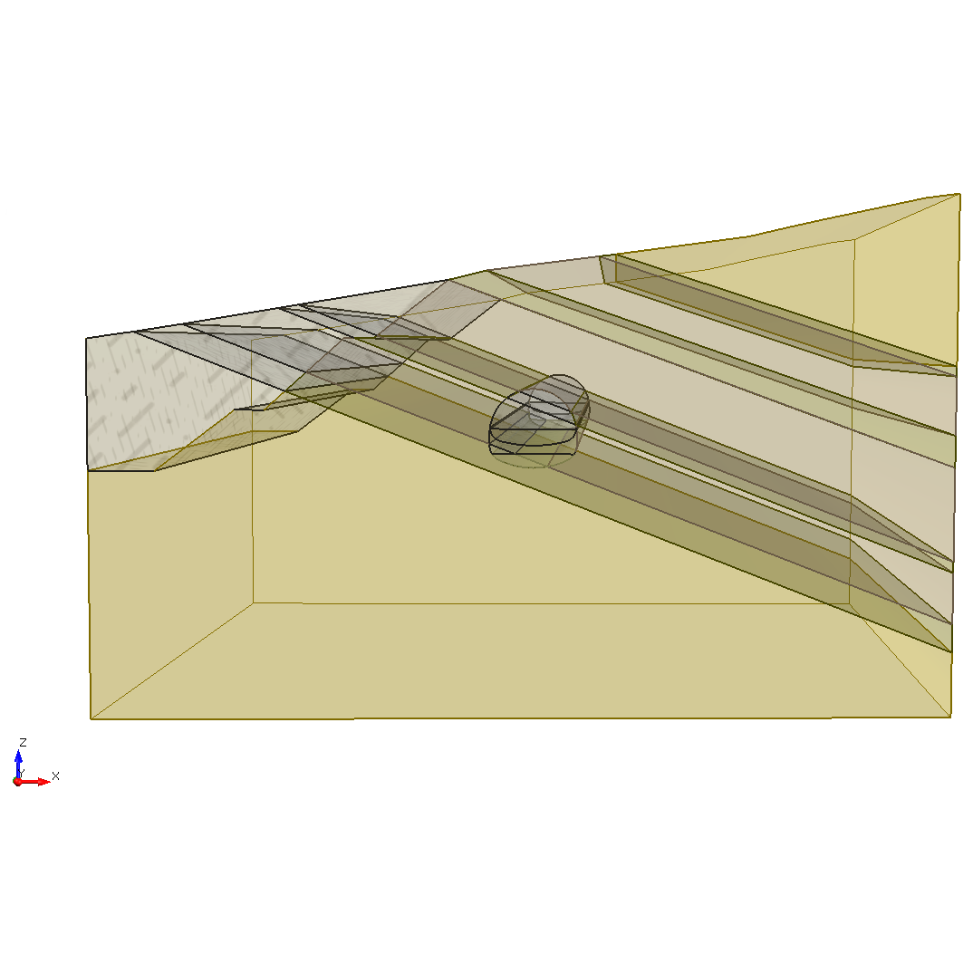 RS3 Figure 1: Tunnel excavation with several materials.