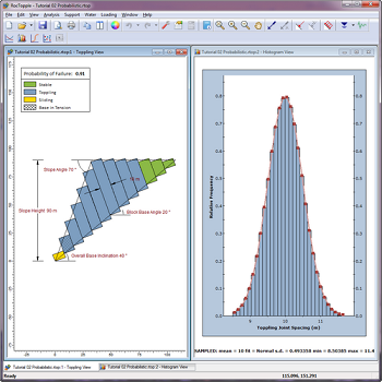 RocTopple Figure 2: View toppling joint spacing distribution in probabilistic analysis.