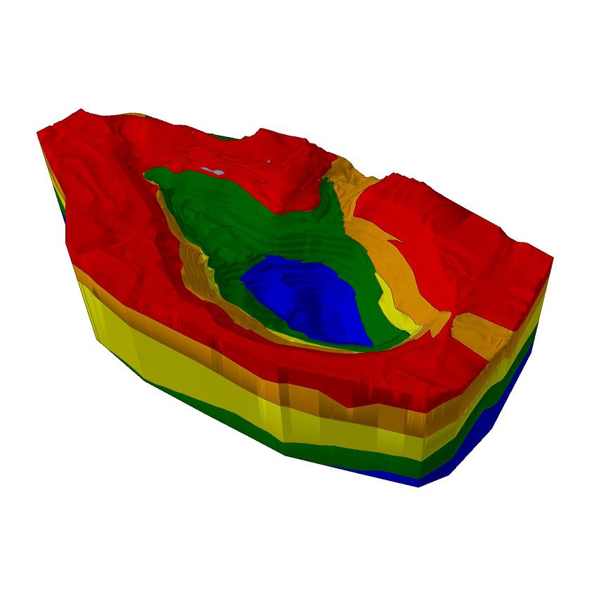Slide3 Figure 1: Model complex open pit mine geometry.